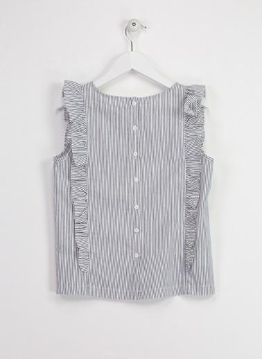 Asymmetry Çizgili Fırfırlı Bluz Lacivert
